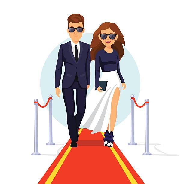 stockillustraties, clipart, cartoons en iconen met two rich celebrities walking on a red carpet - woman very rich