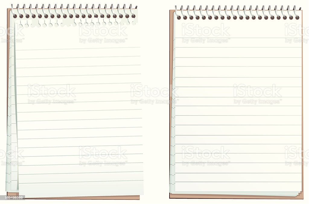 Two ring bound flip note pads isolated on white royalty-free stock vector art