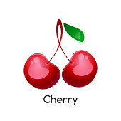 Two ripe cherries with a green leaf on a white background. Isolated object. 3D style. Vector illustration