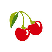 Two ripe cherry berries on a white background. vector