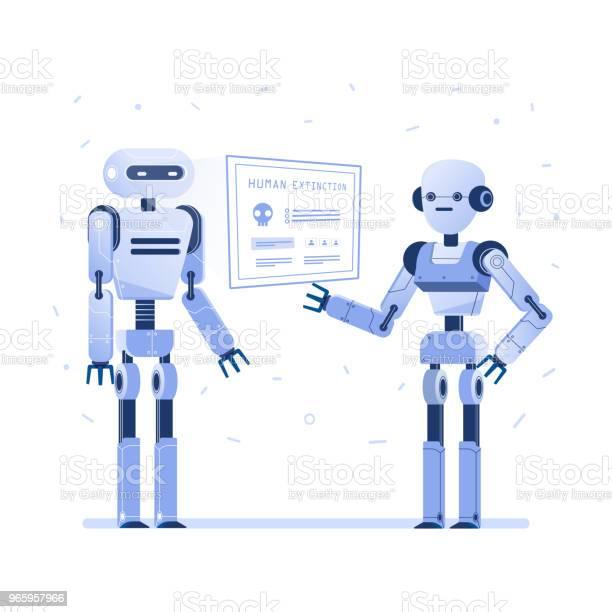 Two Robots Examine Virtual Hud Interface - Arte vetorial de stock e mais imagens de Artificial