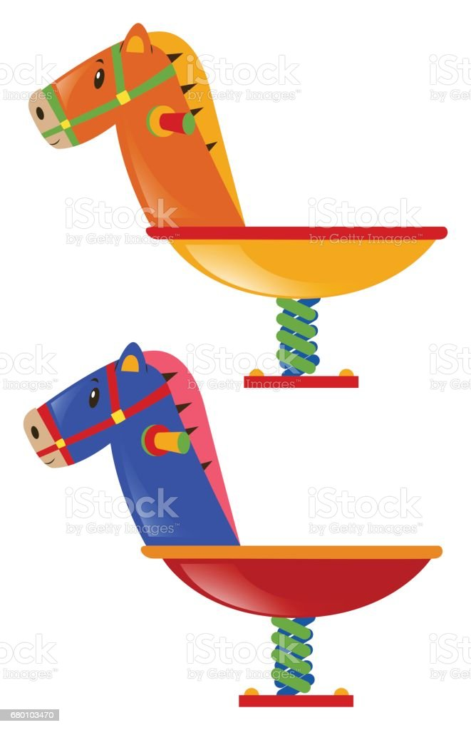 Two rocking horses in different colors vector art illustration