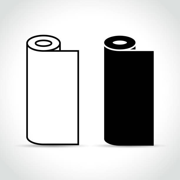흰색 바탕에 두 개의 롤 - 말기 stock illustrations