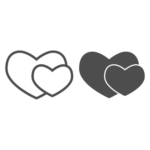 Two romantic hearts line and solid icon. Couple of love or heart shapes symbol, outline style pictogram on white background. Valentine day sign for mobile concept and web design. Vector graphics. Two romantic hearts line and solid icon. Couple of love or heart shapes symbol, outline style pictogram on white background. Valentine day sign for mobile concept and web design. Vector graphics anniversary silhouettes stock illustrations