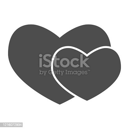 istock Two romantic hearts solid icon. Couple of love or heart shapes symbol, glyph style pictogram on white background. Valentine day sign for mobile concept and web design. Vector graphics. 1216072934