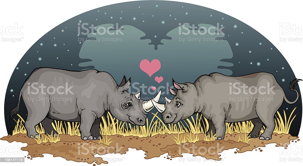 Two romantic Rhinos vector art illustration