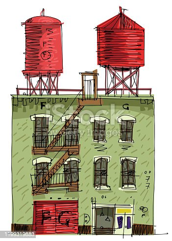 Two rooftop water tanks on a New York vintage residential building with shop at ground floor. Cartoon. Caricature.