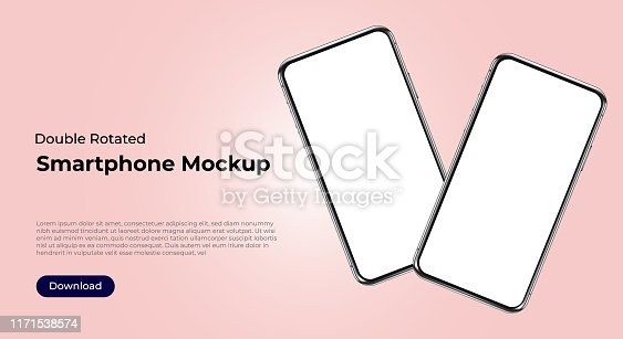 Two rotated smartphones mockup templates for user interface, user experience presentation. Mobile app design concept for websites, landings.