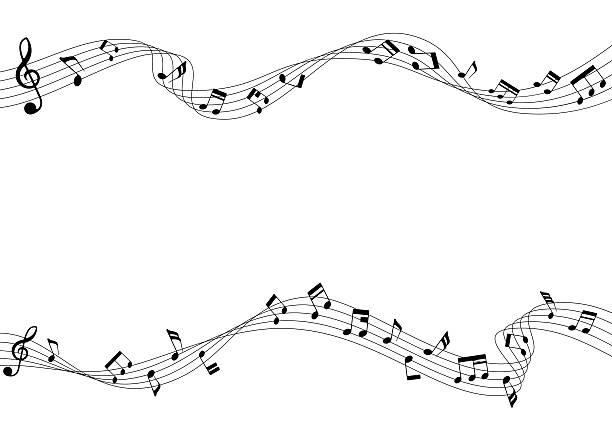 zwei reihe von musikalischen notizen und cord zugreifen - musiksymbole stock-grafiken, -clipart, -cartoons und -symbole