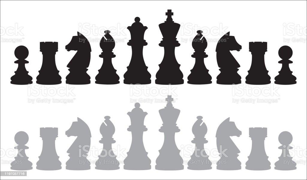 Two Rows Of Chess Pieces - Royalty-free Bispo - Peça de Xadrez arte vetorial