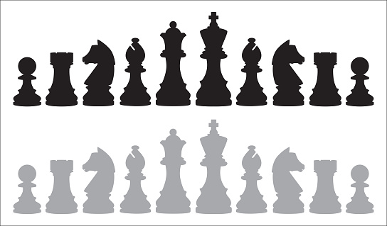 Vector illustration of two rows of chess pieces on a white background.