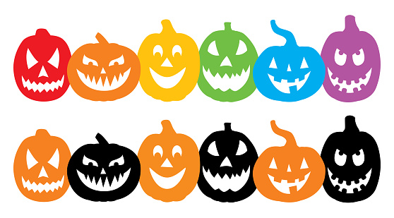 Two Rows Of Grinning Pumpkins