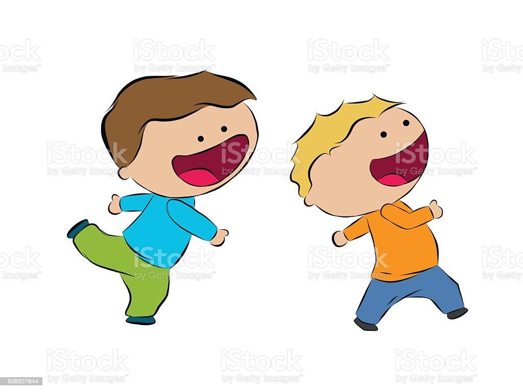 Dos Niños Corriendo Extraer De Dibujo A Mano