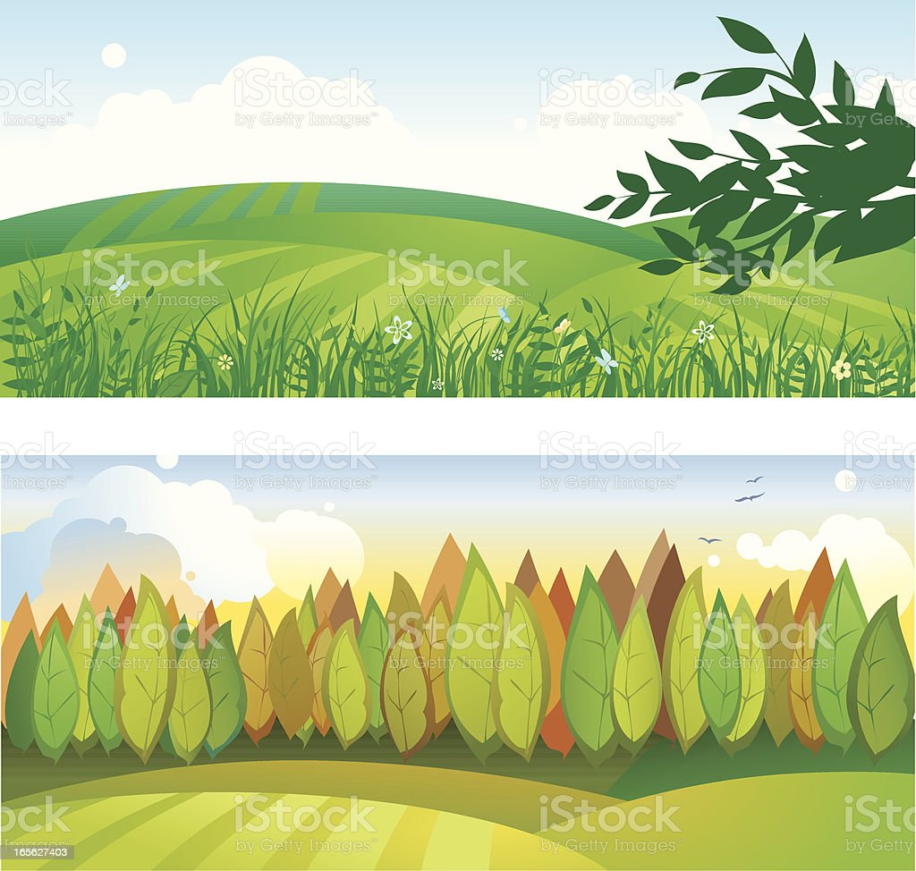 Two Rural Landscapes with Trees and Fields royalty-free two rural landscapes with trees and fields stock vector art & more images of agriculture