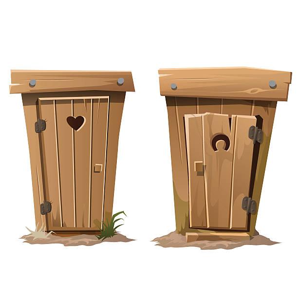 stockillustraties, clipart, cartoons en iconen met two rural toilets on white background - gemak
