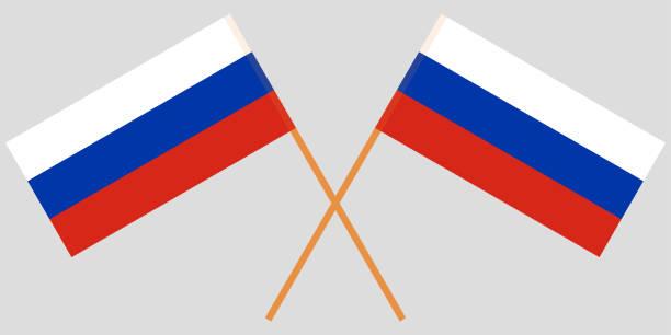 ilustraciones, imágenes clip art, dibujos animados e iconos de stock de dos banderas cruzadas rusos. vector de - bandera rusa