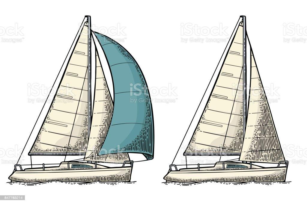 Ilustración de Dos Veleros Velero Vector Ilustración Dibujado De ...