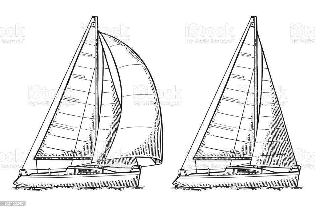 Two Sailing Yacht Sailboat Vector Drawn Flat Illustration Stock ...