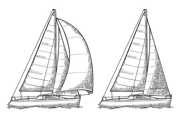 Two sailing yacht. Sailboat. Vector drawn flat illustration Two sailing ship with wave isolated on white background. Vector vintage black engraving illustration. Hand drawn graphic style. For yacht club. sailboat stock illustrations