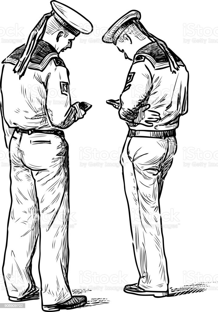 Two sailors stand with their mobile phones vector art illustration