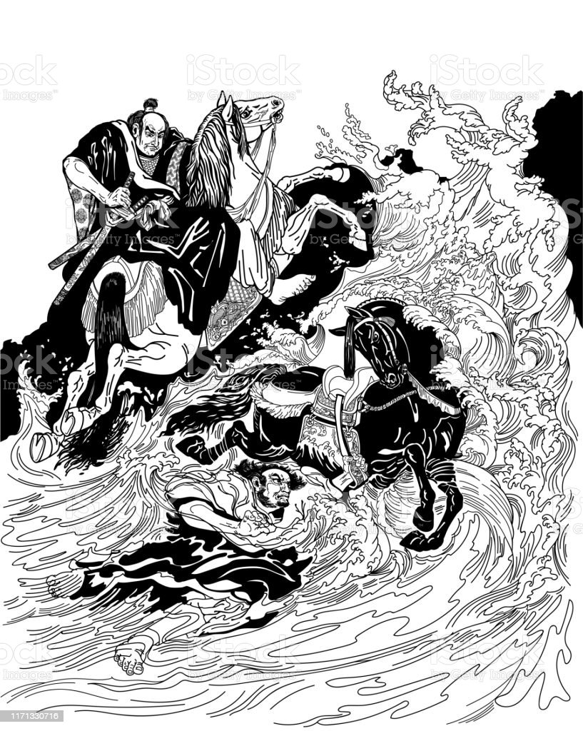 Two samurai horsemen crossing a stormy sea. One warrior with a black...