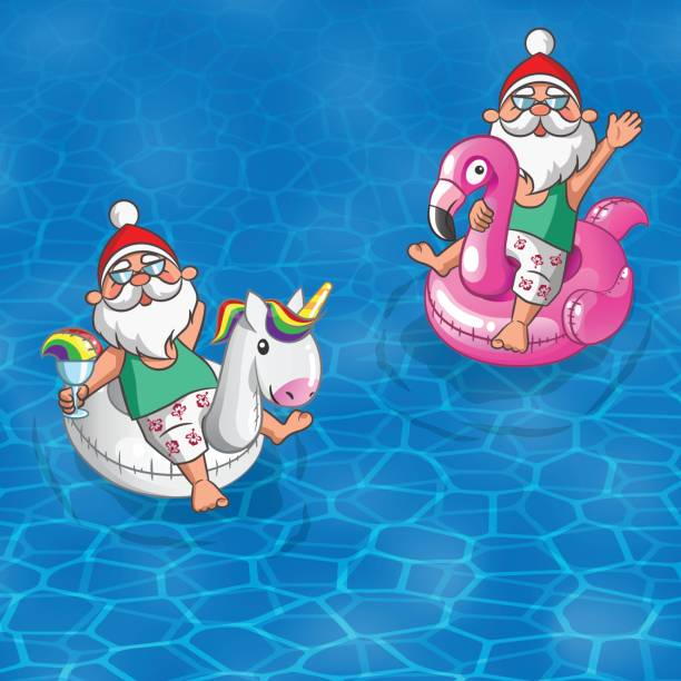 two santa clauses with flamingo and unicorn inflatable floats sail along the sea - old man sunglasses stock illustrations, clip art, cartoons, & icons