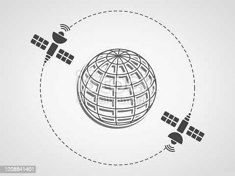 istock Two satellites orbiting the earth represented as a wireframe sphere on a subtle gray background. 1208841401