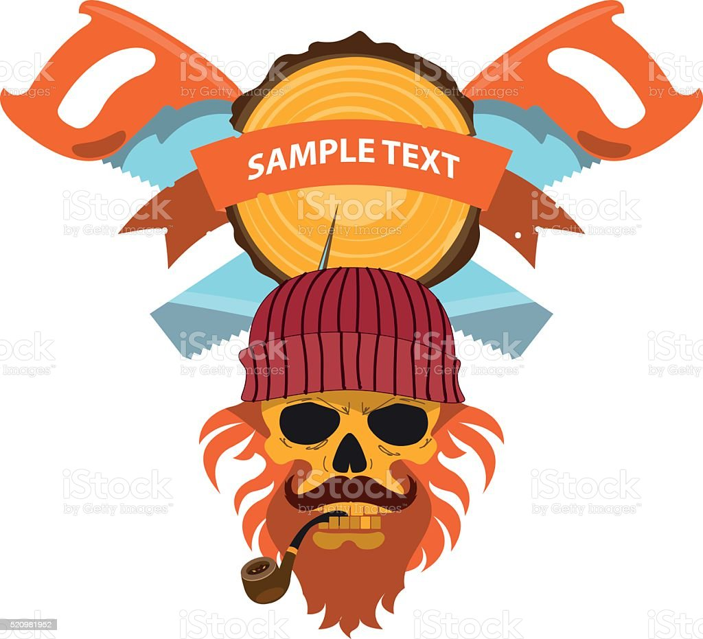 Two saws, round wooden cut and skull lumberjack. vector art illustration