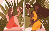 Two scenes showing woman holding mirrors in nature amongst tropical plants , one a Caucasian lady and the other Black, colored vector illustration