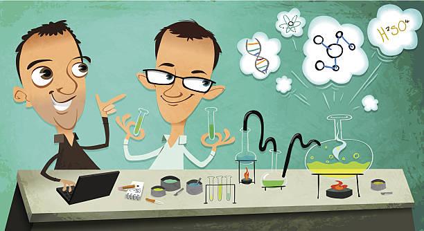 zwei science männer - computergrundlagen stock-grafiken, -clipart, -cartoons und -symbole