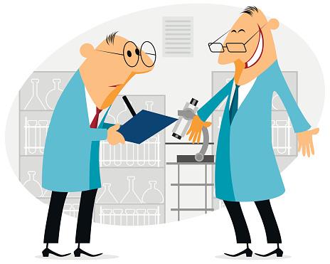 Two scientist talking