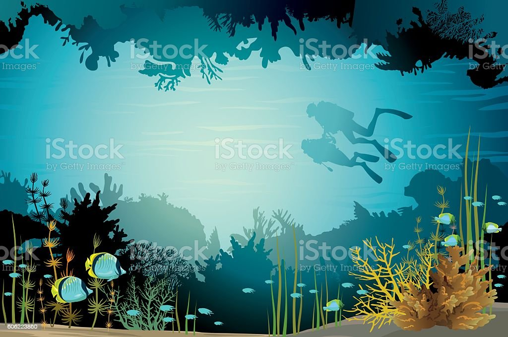 Two scuba divers and underwater cave with fish. vector art illustration