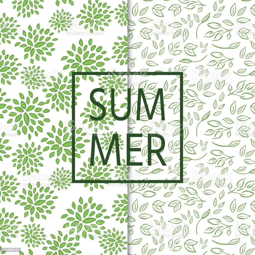 Dos patrón transparente y fresco con ramas, hojas - ilustración de arte vectorial