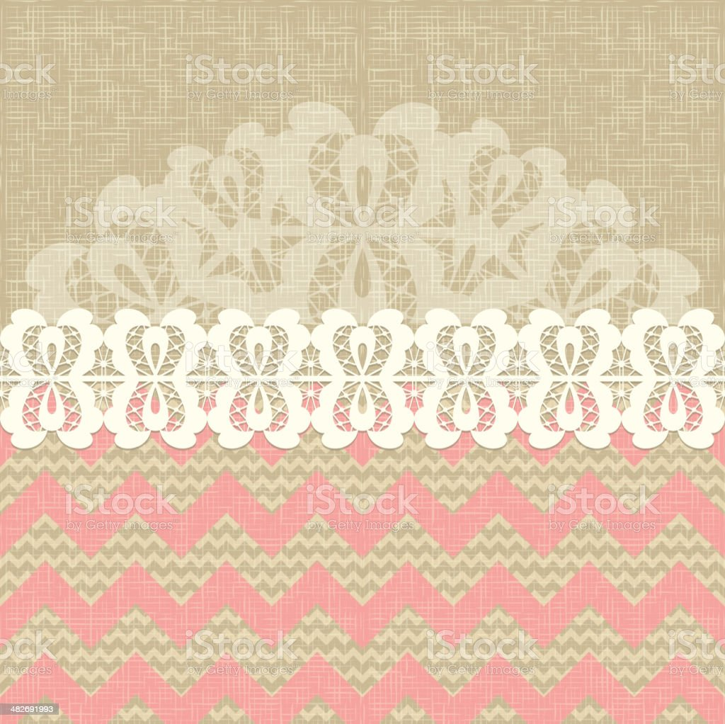two seamless pattern and lace trim. vector art illustration