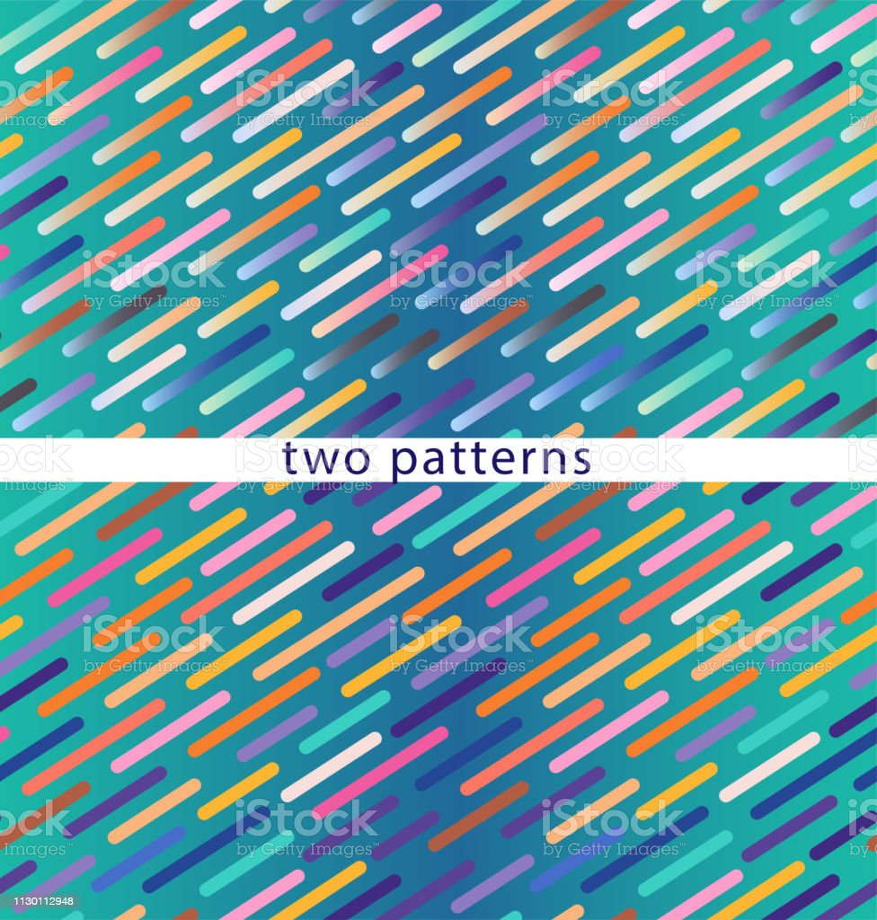 Two seamless patterns on a blue gradient background, colored dotted lines at an angle. Vector vector art illustration