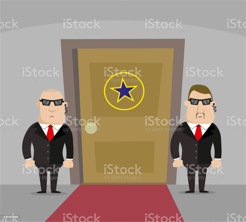 Two security guards and pop star door vector art illustration