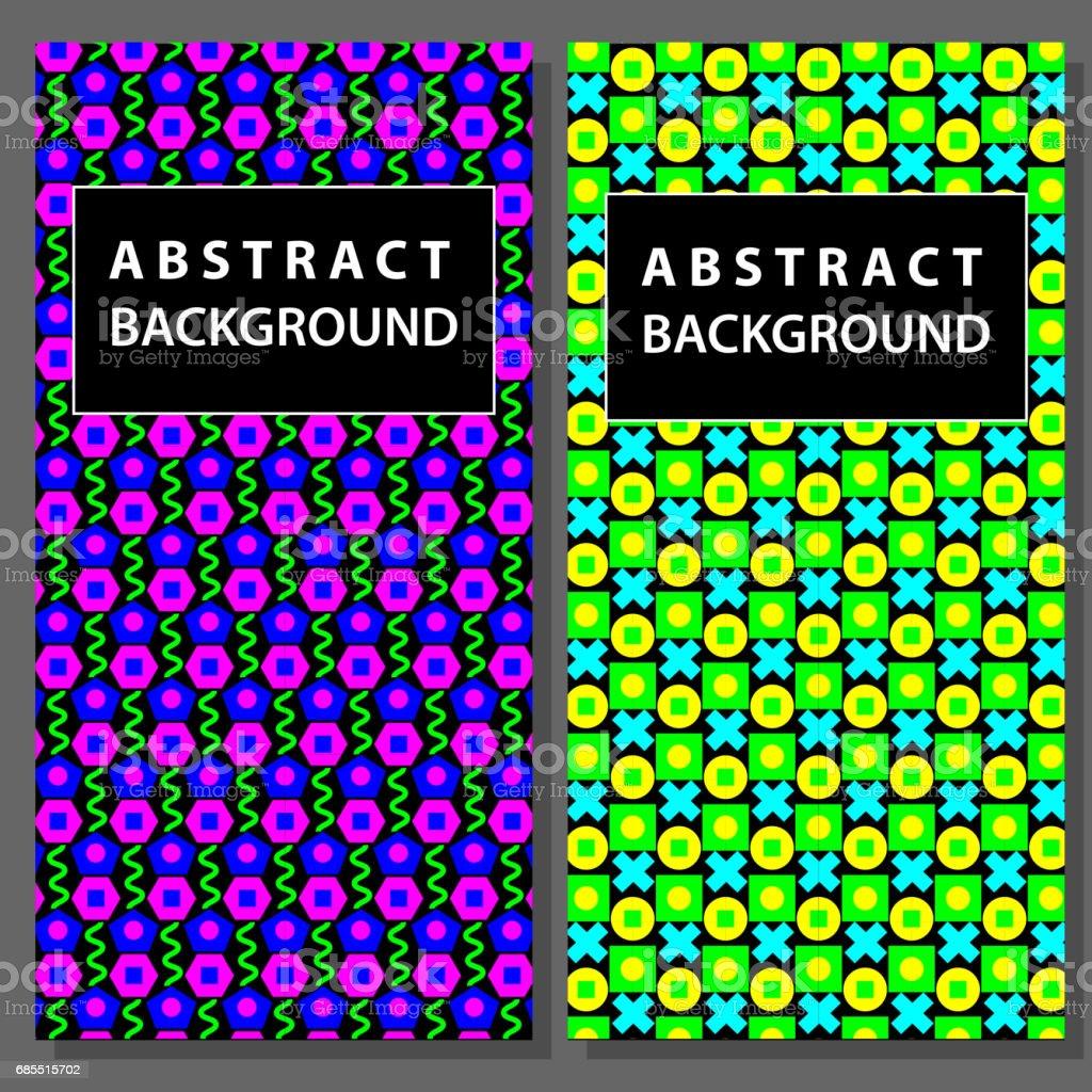兩個組的抽象的幾何背景。時尚 80-90.向量 免版稅 兩個組的抽象的幾何背景時尚 8090向量 向量插圖及更多 1980-1989 圖片