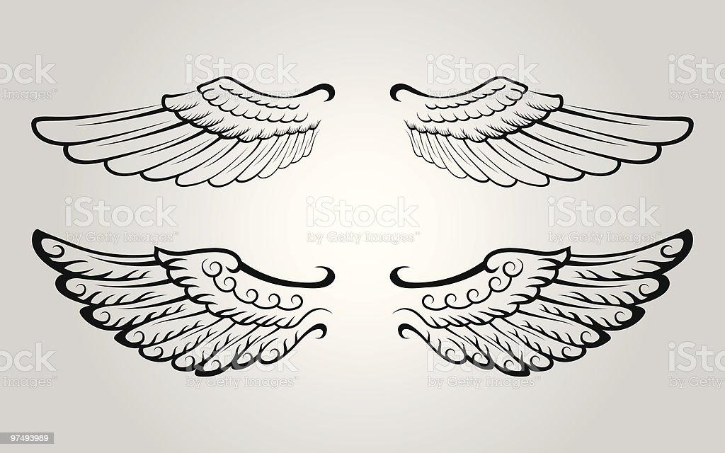 Two Sets of Wing royalty-free two sets of wing stock vector art & more images of angel