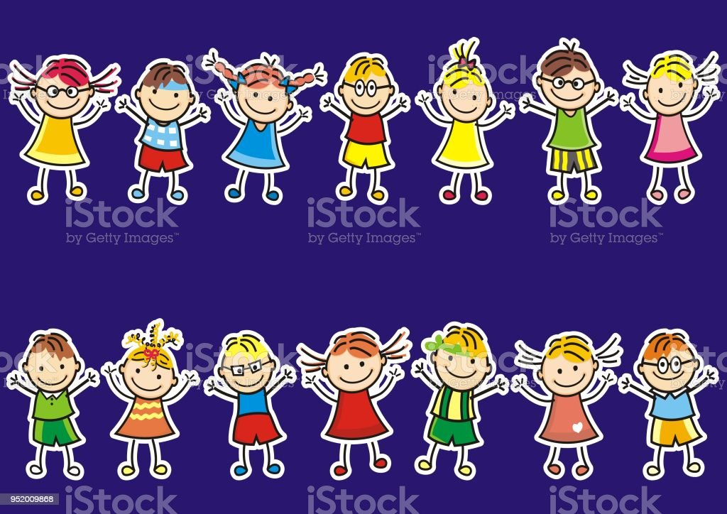 Two sets of young children on a blue background, vector icon. vector art illustration
