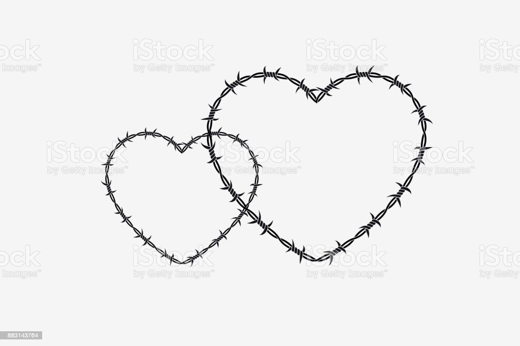 Two Shapes Of Heart Vector Silhouette Of Barbed Wire Stock Vector ...