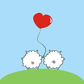 Two sheep with a balloon in the shape of a heart. Love and Valentine's day. Beautiful holiday card. vector