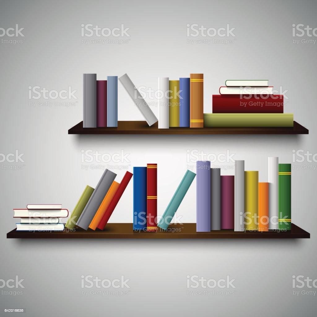 Vetores de Duas Prateleiras Nas Paredes Com Livros