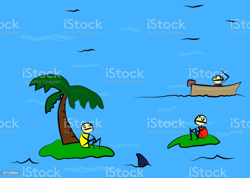 Two shipwrecked person found by a third. vector art illustration