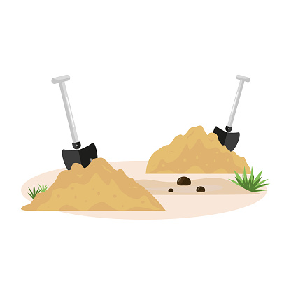 Two shovels, soil and sand. Garden tools. The concept of spring, field, agricultural and construction work. Earth, heap, dirt and tools. A hole dug in the ground. Vector