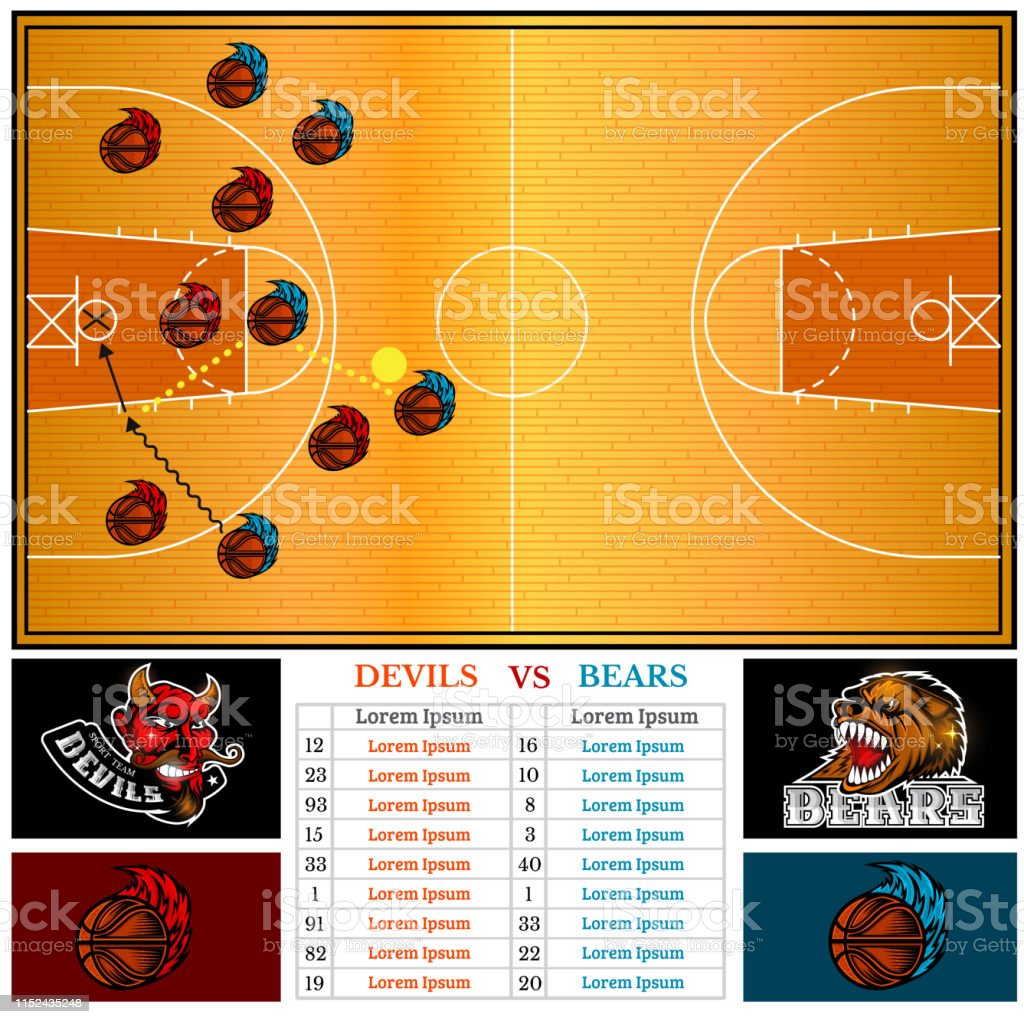 Two sided basketball brochure or flyer, template design with two team...