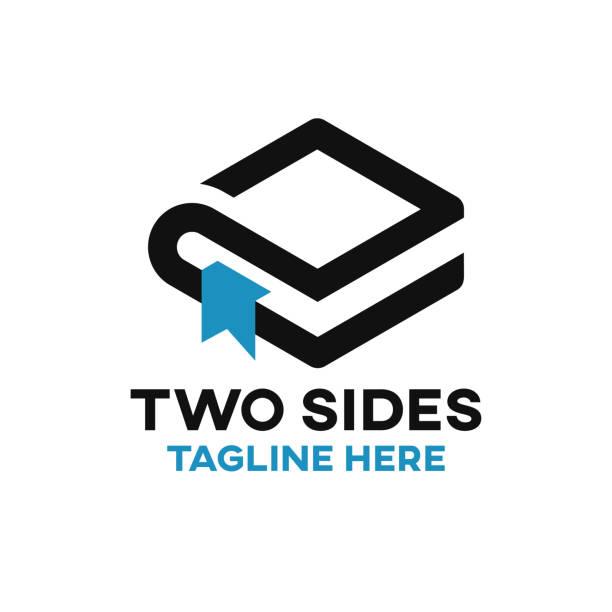 illustrazioni stock, clip art, cartoni animati e icone di tendenza di two sides book logo - rombo