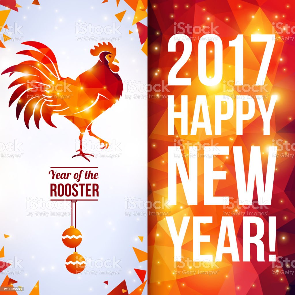 Two sides vertical flyer with pattern and Rooster vector art illustration