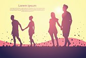 Two Silhouette Couple Man And Woman Walk Holding Hands Full Length Over Abstract Background