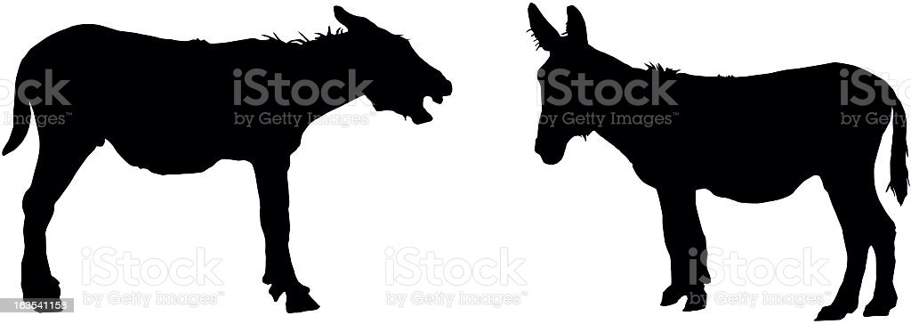 Two silhouettes of donkey in black royalty-free stock vector art