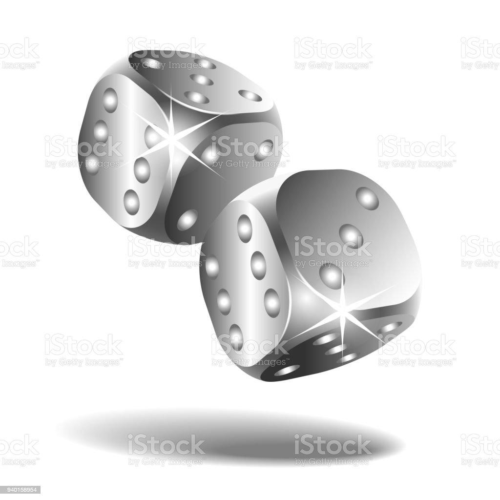 Dos de plata caen dados aislados en blanco - ilustración de arte vectorial